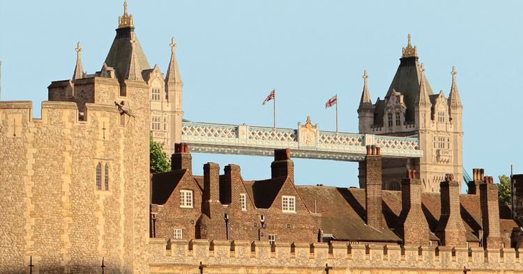 Tower Bridge behind the Tower of London
